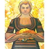 Гоблен Момиче с грозде на Майстора р-ри 48/29 1/4 с детайли дмц конци